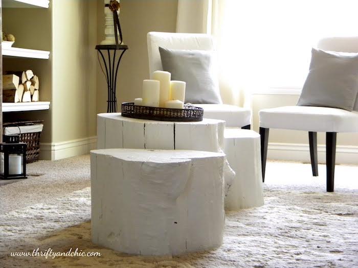 tronc d arbre deco pour salon scandinave avec rondins de bois pour table basse rustique diy