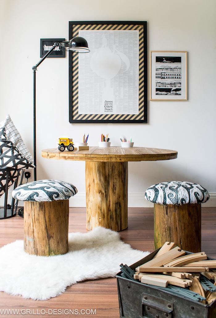 tabourets en rondin et table tronc d arbre pour deco salon avec touche naturelle