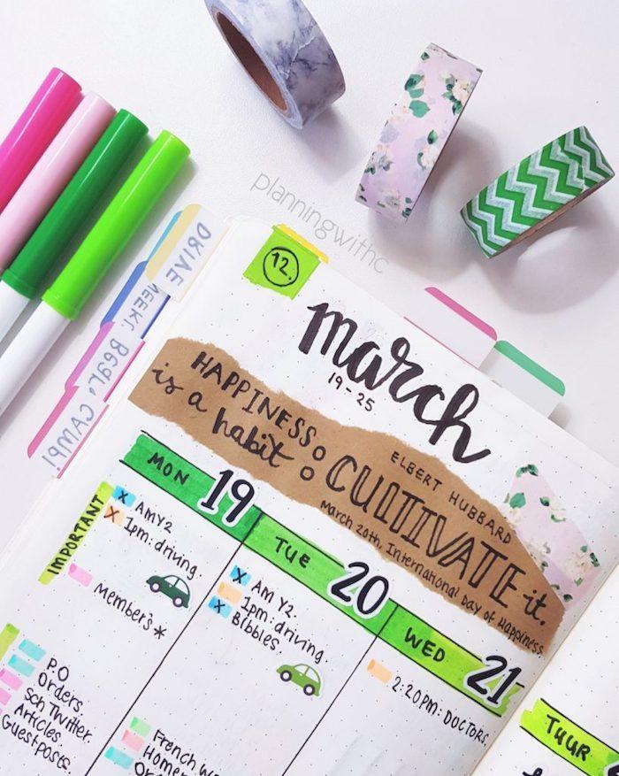 un tableau pour organiser sa semaine, emploi de temps jourmalier, citation sur papier kraft collée dessus, plusieurs feutres colorées, masking tape