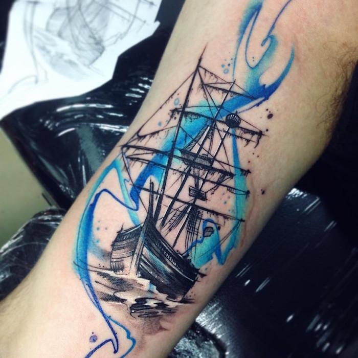 tattoo de bateau à voile style navire fantôme noir avec trainées bleues aquarelle