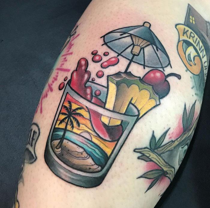tattoo de cocktail style tatouage voyage vacances d'été au soleil en aquarelle