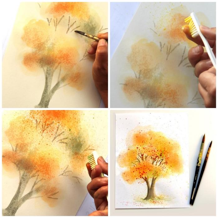 tuto aquarelle pour peindre un joli arbre d'automne, technique de peinture pour réaliser des projections en aquarelle