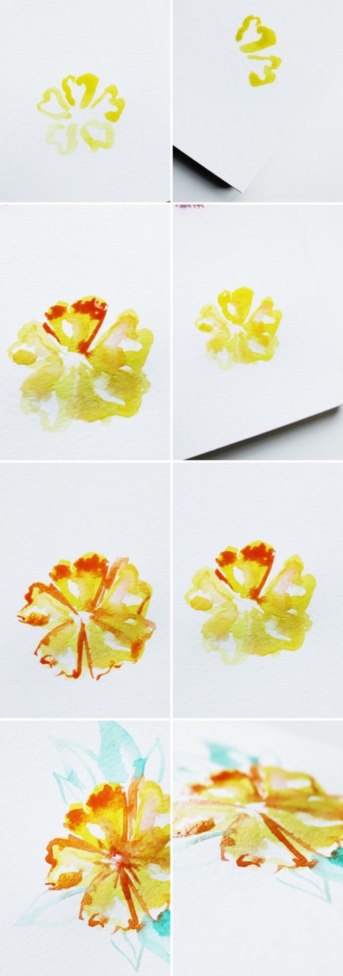 comment peindre une fleur à l'aquarelle, technique de peinture mouillé sur mouillé