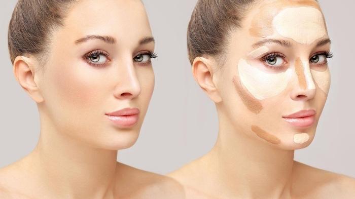 quelles parties du visage sculpter avec une teinte foncée, marquer les zones du visage avec un correcteur sous les yeux et sur le front