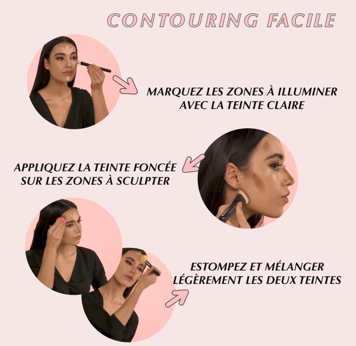 tutoriel avec les étapes à suivre pour réaliser un contouring facile sur visage à teint mate, appliquer les produits contouring avec pinceau