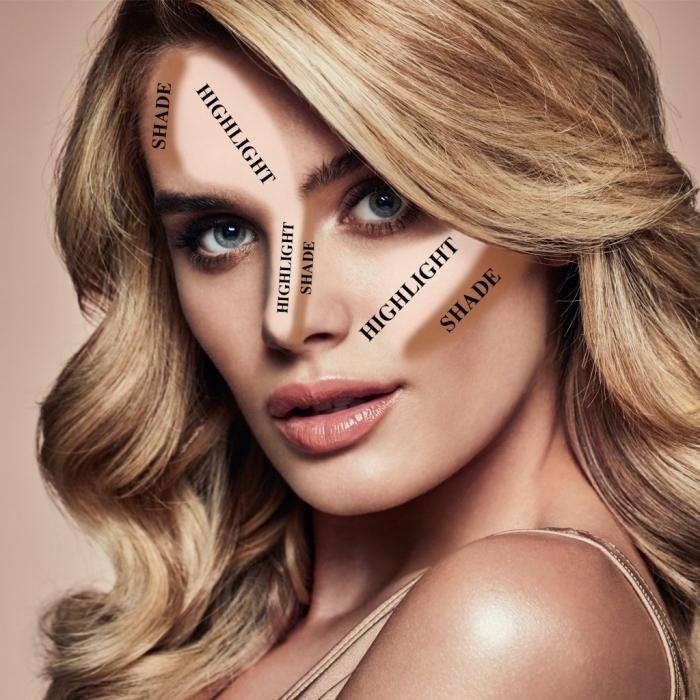idée comment faire un contouring sur peau bronzée avec highlighter sur le front et le nez, exemple comment marquer les zones contouring