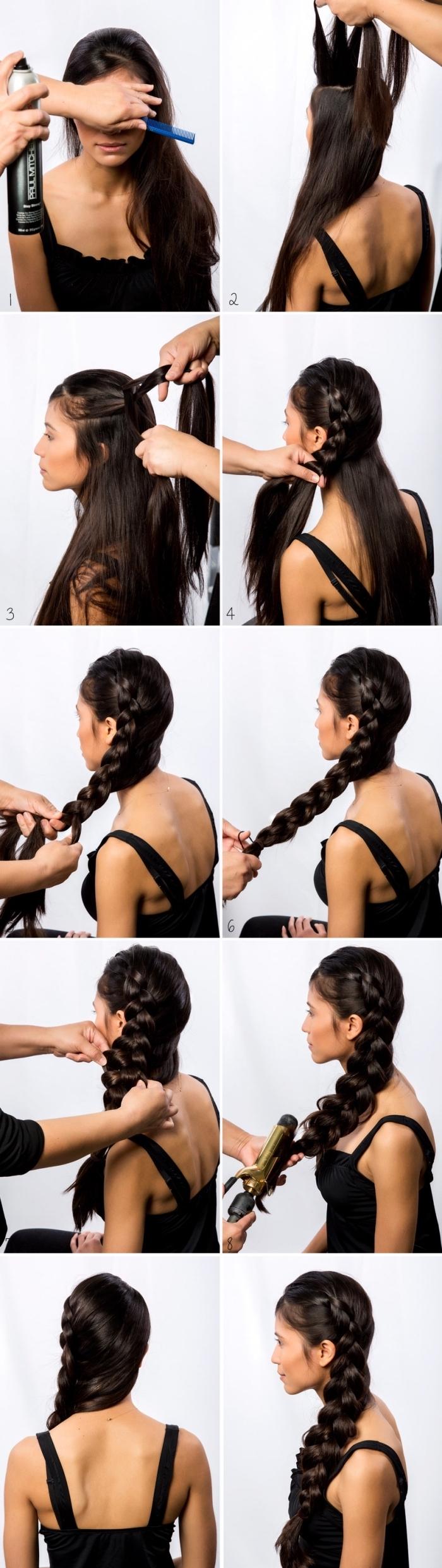 tutoriel pour faire une coiffure facile sur cheveux volumineux longs, exemple coiffure sur le coté avec grosse natte défaite