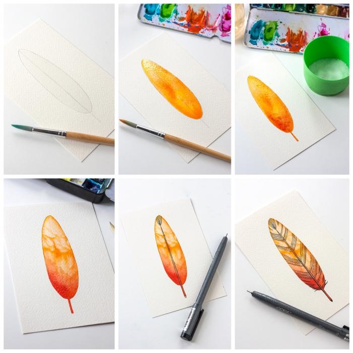 technique aquarelle pour peindre une plume orange aux détails noirs réalisés au stylo feutre à pointe fine