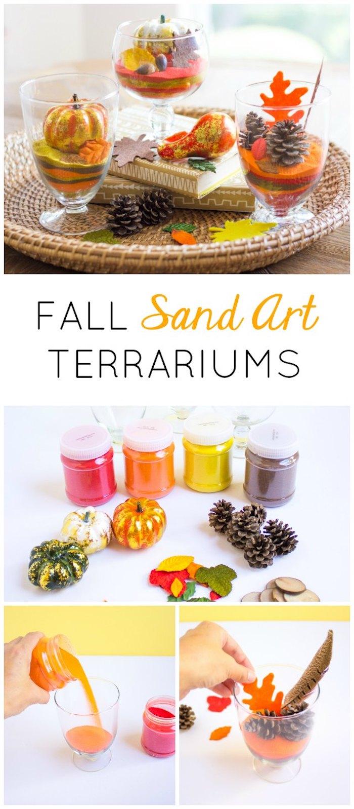 idée comment faire un terrarium plante en sable coloré , pommes de pins, mini citrouilles et feuilles mortes artificielles, deco automne a faire soi meme