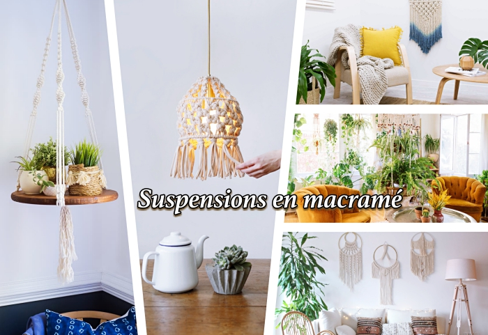 suspension plante DIY en corde et bois fabriquée avec la technique macramé, modèle de lustre en macramé de style bohème chic