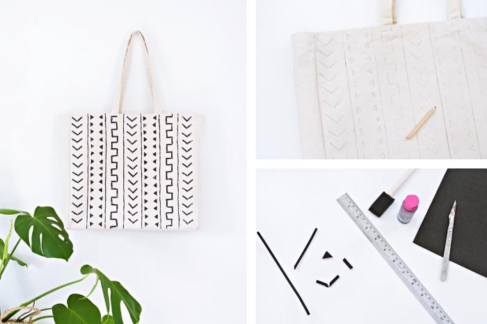 comment faire une déco sur accessoire sac à main avec feutre pour tissu, idée motifs géométriques en blanc et noir
