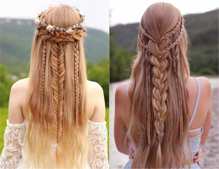 Coiffure invité mariage champetre, coiffure simple pour mariage style bohème, tresses princesse sur cheveux long