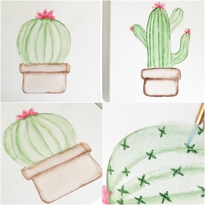 peinture facile à reproduire pour réaliser un pot de cactus avec des couleurs très diluées