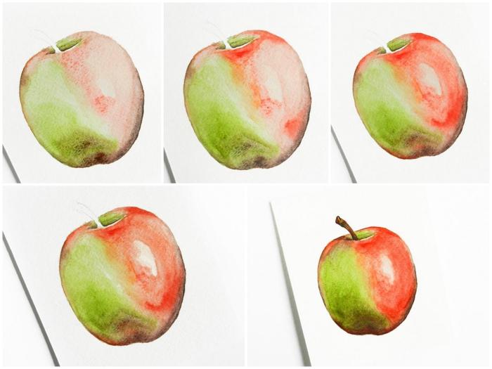 technique simple pour réaliser une pomme à l'aquarelle aux reflets lumineux, nature morte à la peinture aquarelle