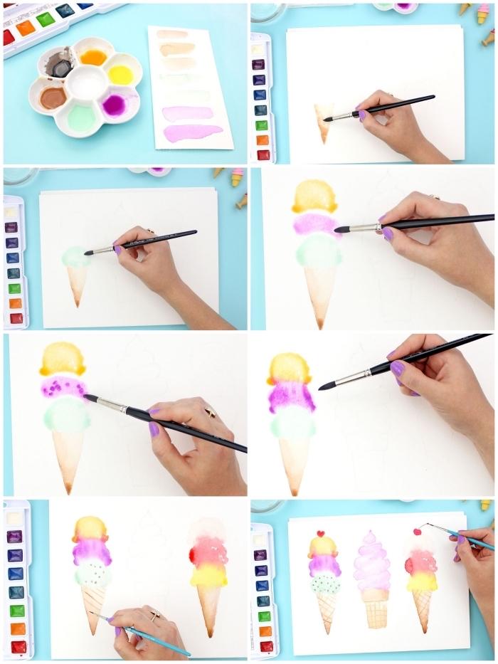 tuto pas à pas pour réaliser une jolie peinture aquarelle