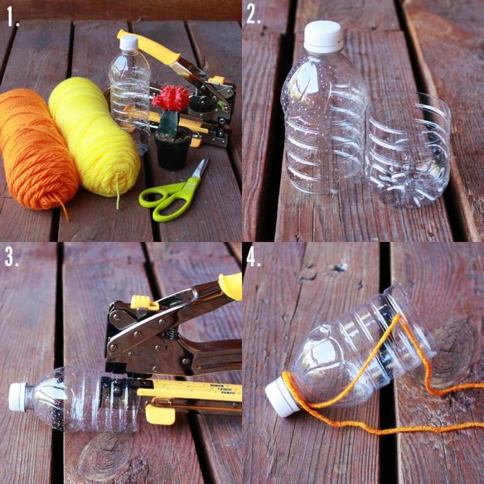 tuto bricolage avec des bouteilles en plastique transformées en suspension pour plantes
