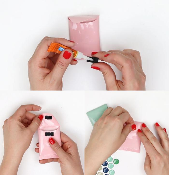 tuto bricolage avec des tubes en plastique recyclées en pochettes vide-poches couleur pastel