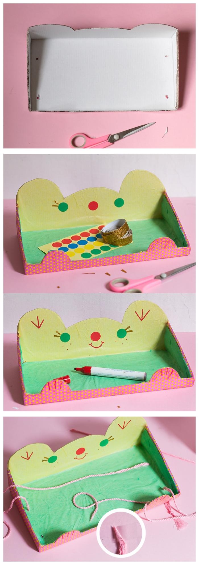 tuto facile pour réaliser une étagère suspendue en carton à partir d'une boîte à chaussures recyclée, deco recup facile avec du carton recyclé