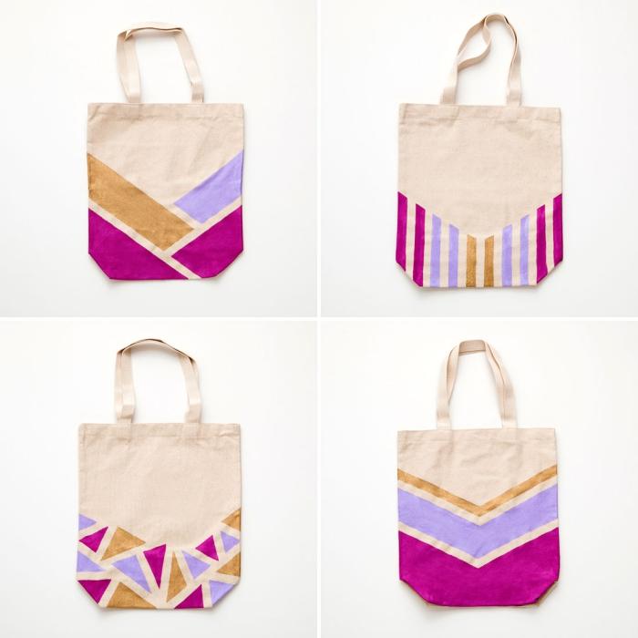 exemple de sacs à main customisés avec peinture textile et washi tape, joli déco aux motifs géométriques sur sac cabas