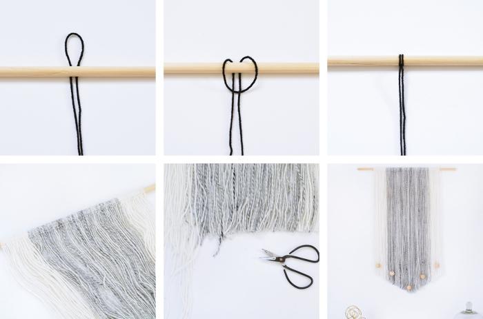 modèle de macramé facile en cordes blanc et gris clair, tuto macramé suspension facile à fabriquer avec bâton de bois et déco en perles de bois