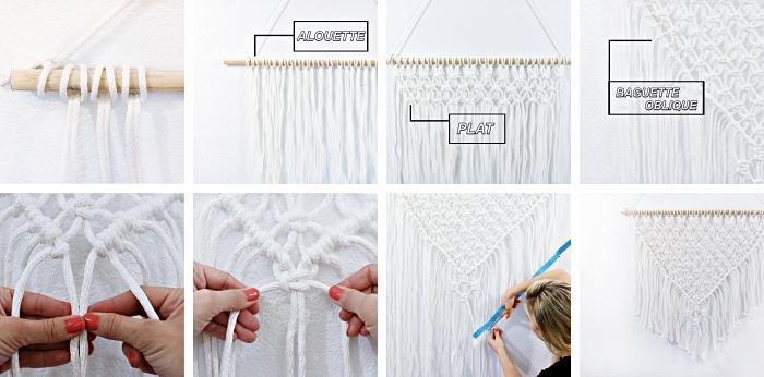 comment utiliser les techniques noeud plat et noeud alouette pour faire une suspension macramé, modèle de déco murale en macramé DIY