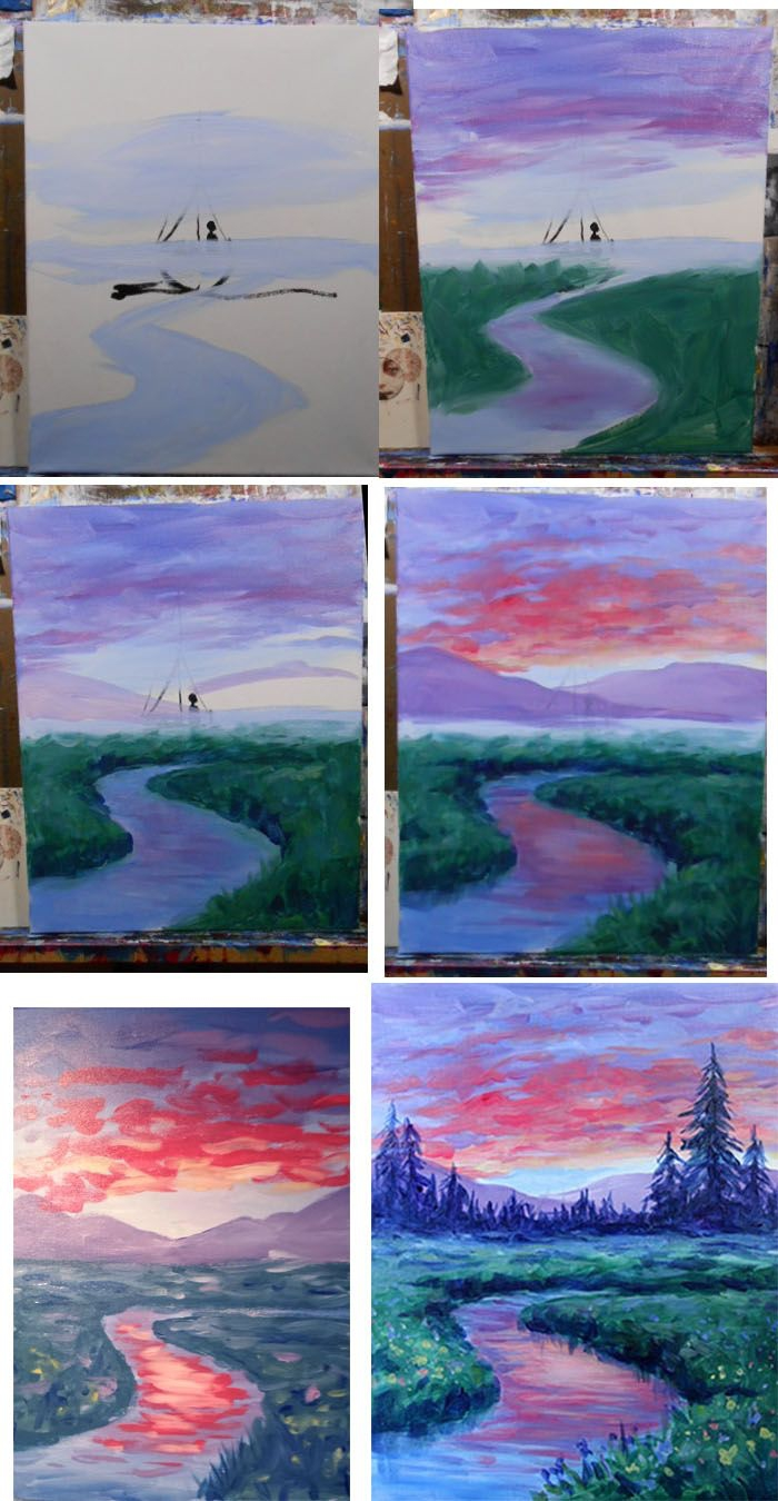 peinture à l'aquarelle paysage naturel pour débutants, tuto pas à pas pour réaliser un paysage à l'aquarelle