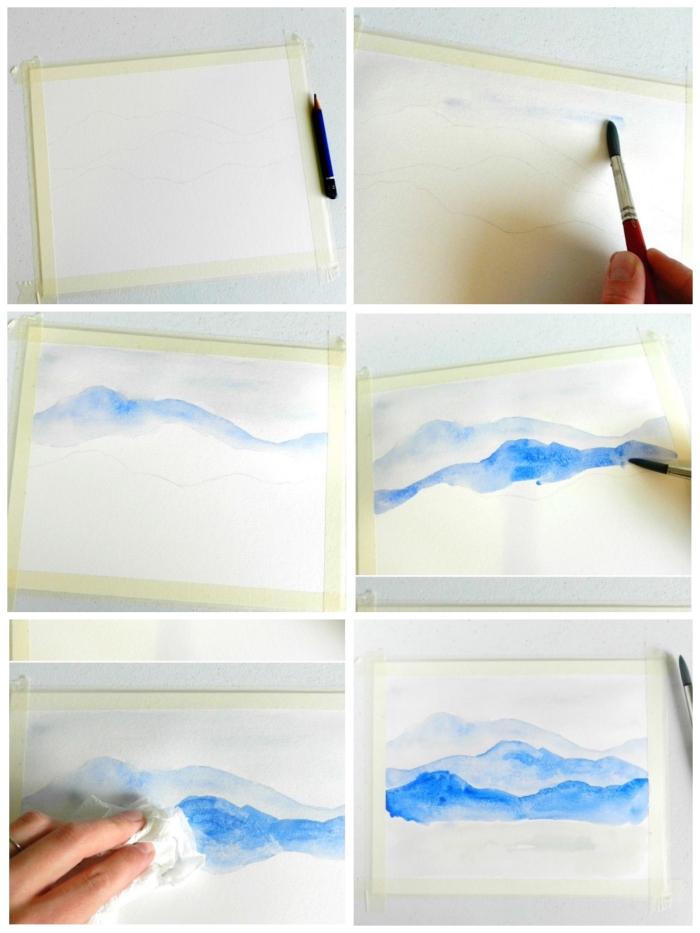 tuto pour réaliser un paysage aquarelle simple et rapide grâce à quelques techniques de peinture