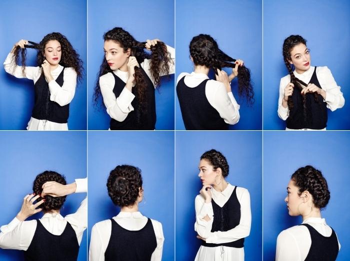 idée quelle coiffure pour cheveux long bouclé, étapes à suivre pour réaliser une couronne de tresse inversée sur cheveux longs et crépus