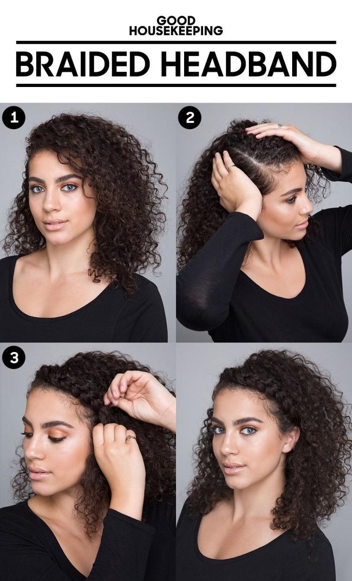 étapes à suivre pour réaliser une coiffure cheveux crépus facile et romantique, modèle de coiffure sur cheveux lâchés avec une couronne en tresse