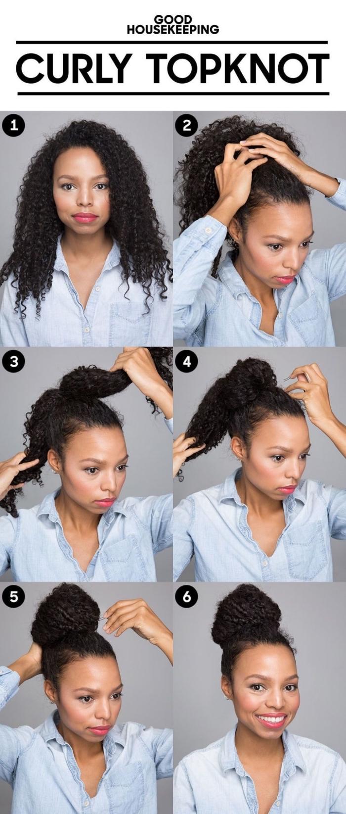 étapes à suivre pour réaliser un chignon haut sur cheveux crépus volumineux, idée comment attacher les cheveux frisés