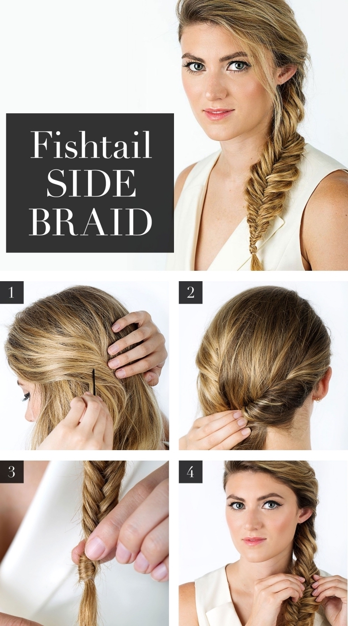 étapes à suivre pour faire une grosse tresse en épi de côté, tuto coiffure avec tresse facile pour cheveux longs