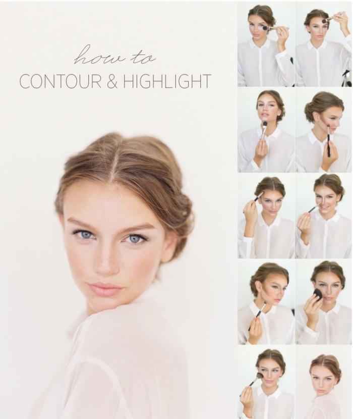 exemple comment faire un joli contouring naturel sur visage clair, utiliser pinceau et blender pour appliquer les produits contouring