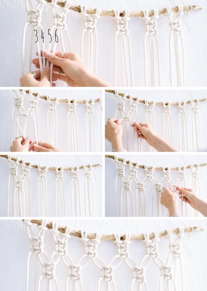 pas à suivre pour réaliser une déco murale en bâton de bois et cordelette blanche en coton, exemple technique noeud plat