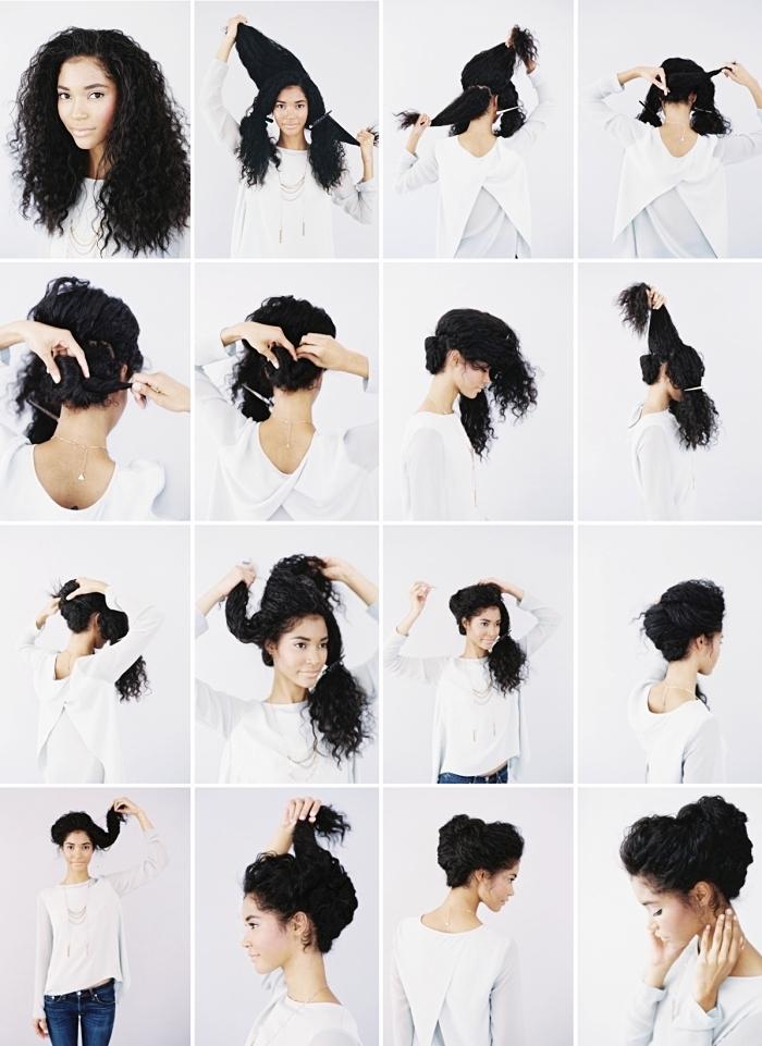 exemple comment coiffer les cheveux long bouclé ou naturellement frisés, exemple coiffure en chignon haut tressé avec volume sur le devant
