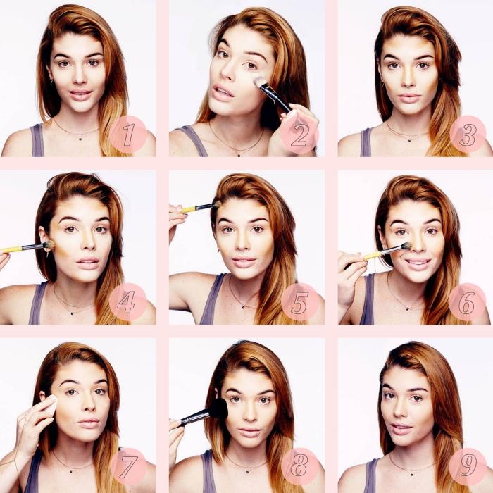 astuce beauté avec un contouring visage facile à réaliser soi-même, appliquer correcteur sous les yeux, sculpter les pommettes avec teinte foncée