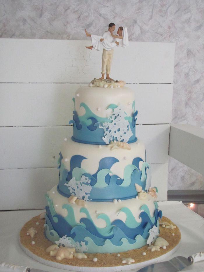 Idée gateau lux, gateau wedding cake, pièce montée mariage choux, choix simple maries sur la plage