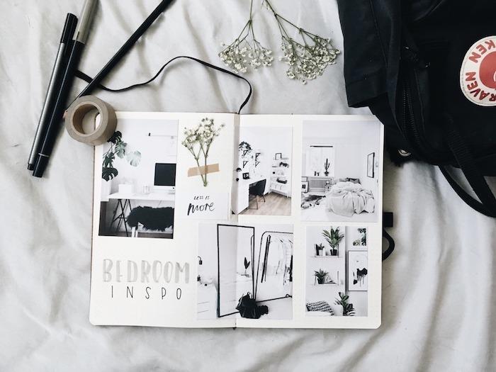 pages carnet bullet journal avec des idées comment relooker sa chabre à coucher, décoration avec accents scandinaves