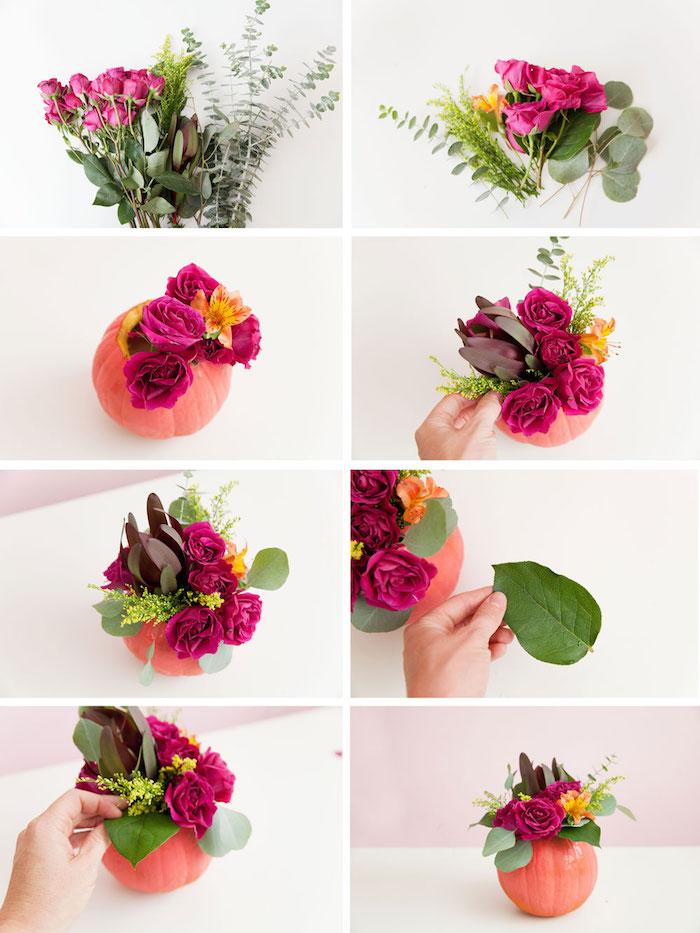 petit vase en citrouille repeinte en rose et remplie de roses rouges, deco table automne a faire soi meme