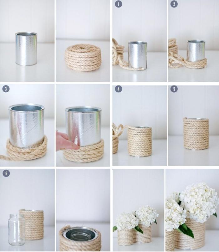 vase récup de style champêtre en boîte de conserve habillée de corde, tuto bricolage récup facile avec des boîtes de conserve
