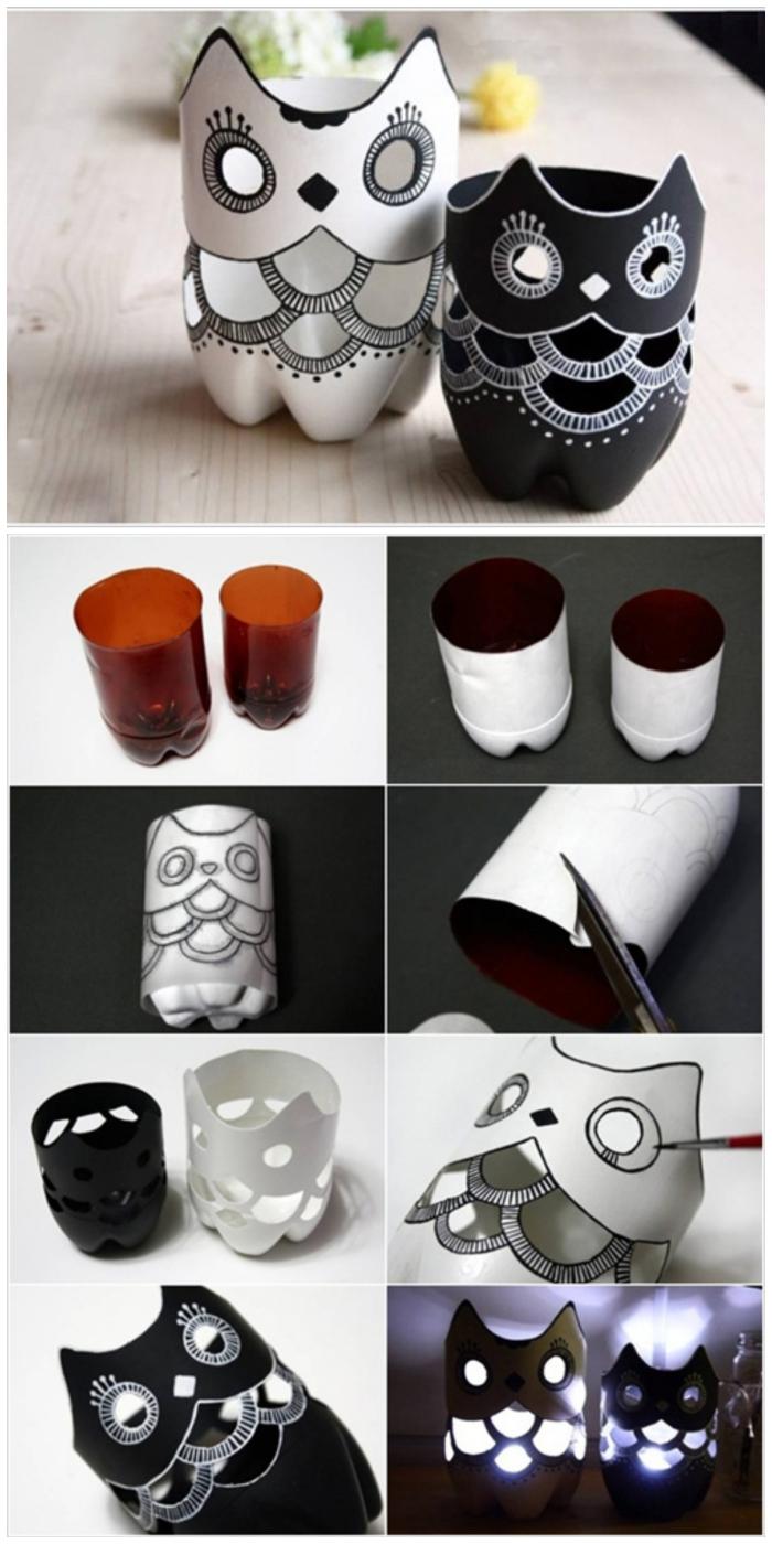 des vases hiboux originaux réalisés à partir des bouteilles en plastique recyclées