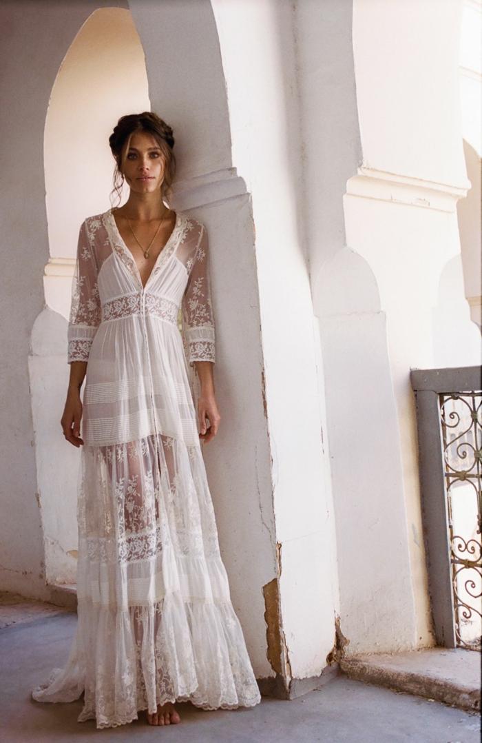 robe longue boheme chic, robe de mariée bohème, robe champetre chic, robe longue boheme chic