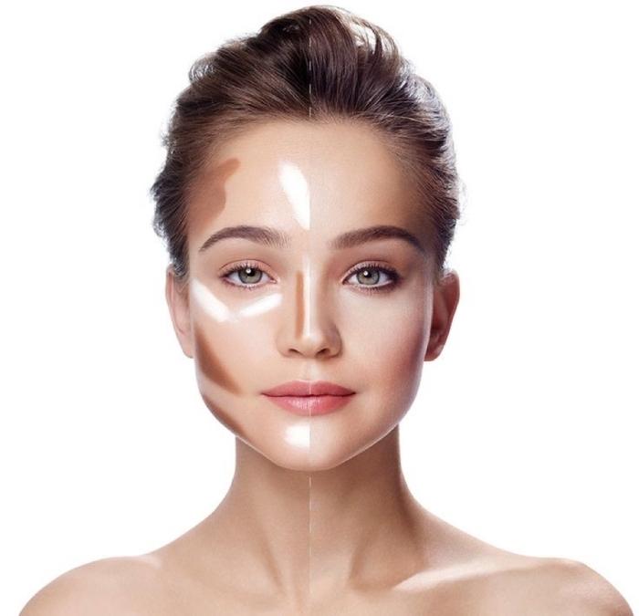 exemple comment marquer les parties sur le visage à affiner ou éclaircir, correcteur sous les yeux, teinte foncée pour affiner les joues