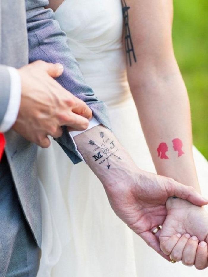 Mariage tatouage amour éternel, tatouage commun couple, beau tatouage pour couple, tatouage éphimère