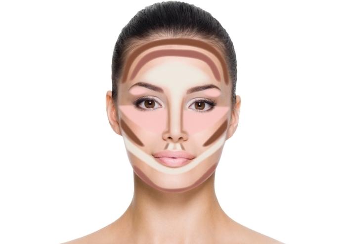 exemple comment faire un contouring visage facile avec une palette contouring, idée comment marquer les zones à illuminer