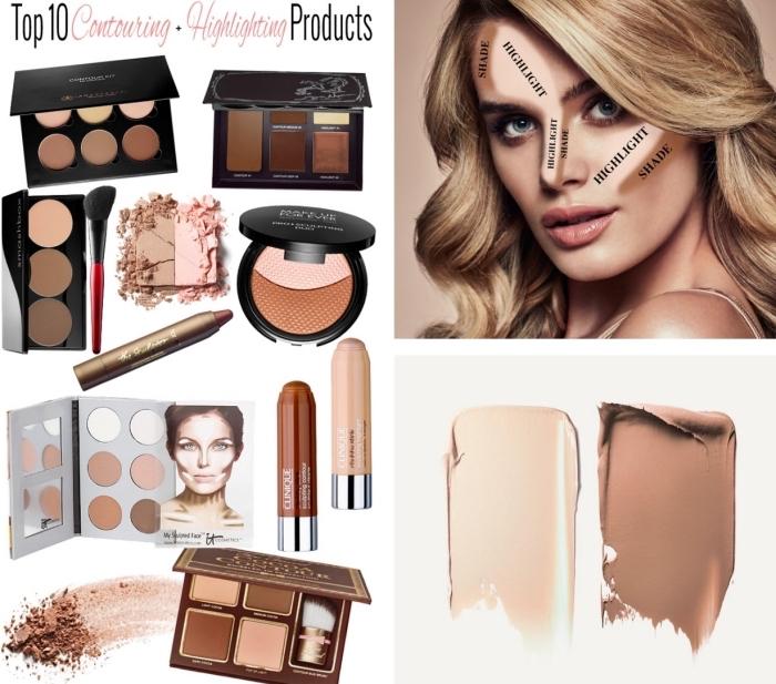 idée quels produits utiliser pour illuminer et sculpter son visage, technique de maquillage tendance contouring facile
