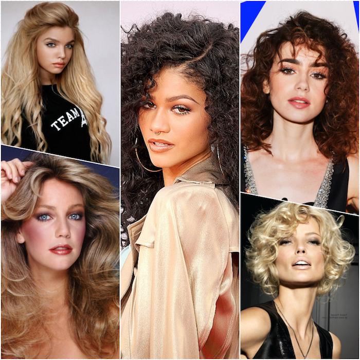Cheveux année 80 ondulés, coiffure ondulée pour complementer déguisement année 80, soirée party rétro vêtements