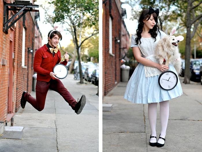 Alice au pays des merveilles, déguisement maque du roman, déguisement carnaval pas cher, robe bleue évasée et tenue pour homme rouge