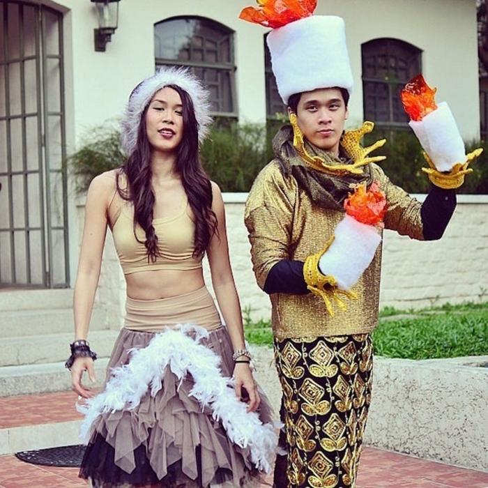 duo celebre cinema, Lumière et Babette de la Belle et la Bête, habits de carnaval à porter lors de la fête d'Halloween