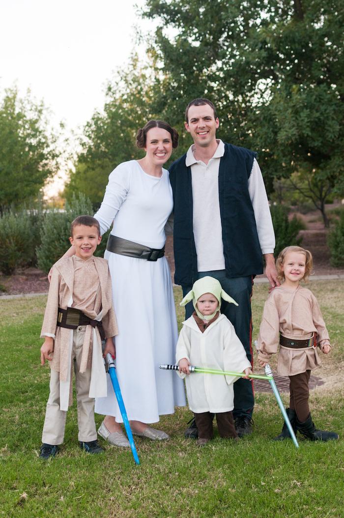Star Wars deguisement groupe, idee deguisement carnaval pour toute la famille qui aime le film de star wars, groupe idée sympatyque