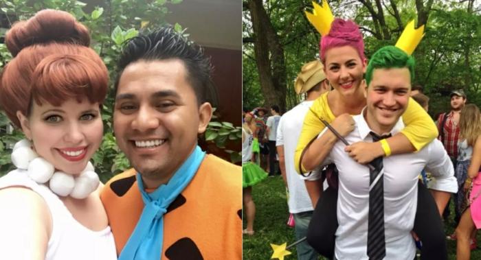 Fred et Wilma Flinstone, elfe forestier et fée, tiares jaunes sur des cheveux colorés, déguisement facile